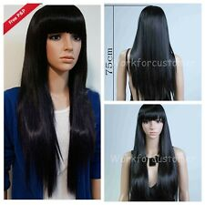Womens Long Brazilian Black Straight Natural Remy Wig Hair Old Full Wigs New
