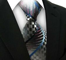 One Classic Striped WOVEN JACQUARD Silk Men's Suits Tie Necktie Gray Blue M035