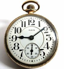 ANTIQUE 1921 ELGIN FATHER TIME 21'J RAILROAD RR POCKET WATCH 16'S GOLD FILLED