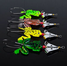 4pcs Rubber Metal Frog Soft Fishing Lures Bass CrankBait Spoon Tackle Set