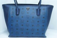 MCM Medium Visetos Tote Shoulder Bag Women's Logo Blue Handbag Leather NWT