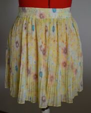 NWT-Pull & Bear-S-Yellow/Pink/Blue-Pleated-High Wasited Skirt-Circle/Skater