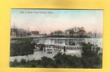 Rockland,MA Massachusetts, Dam at Reeds Pond, hand colored
