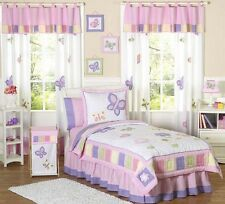 PINK PURPLE FLOWER BUTTERFLY GARDEN KIDS FULL QUEEN SIZED BEDDING SET FOR GIRLS