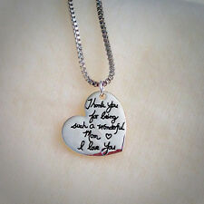 925 Silver Plt  'Thank You For Being a Wonderful Mom' Necklace Pendant Mums Gift
