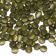 MBX930p Antiqued Bronze Patterned Flat Round Coin 7mm Metal Spacer Beads 100/pkg