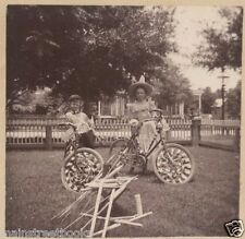 PATRIOTIC CHILDREN WITH BICYCLES FIREWORKS American Flags JULY 4th ROCKETS c1910