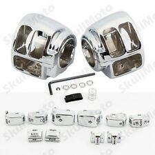 Chrome Switch Housing Case Kit +10 Cap For Harley Dyna Softail Wide Glide Fatboy