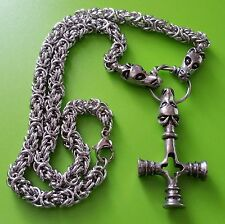 Viking Dragon Chain with Dragon Mjölnir Pewter Pendant - Thor's Hammer Mjolnir