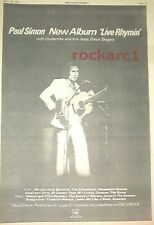 PAUL SIMON Live Rhymin' 1974 UK Poster size Press ADVERT 16x12 inches