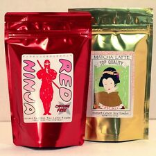 Matcha Green Tea Latte Powder 8oz bag + Red Ninja Rooibos Tea Latte 8oz bag Set