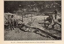 CANADA YUKON GOLD HILL SLUICE WORK DISCOVERY CLAIM RUEE OR 1907 OLD PRINT