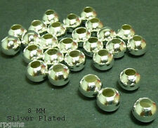 8 MM SILVER Plated Round Beads LOT  1000 craft jewelry
