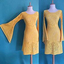 VTG 70s BoHo Sheer CUT OUT Hippie YELLOW Crochet LACE Angel Wedding MiDi DRESS