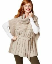 NEW(S126) INC International Cable-Knit Belted Poncho Sweater Sz L XL $119.50