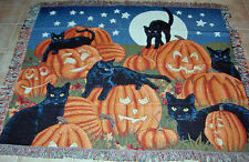 Halloween Fun ~ Pumpkins & Black Cats Tapestry Afghan Throw