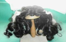 "doll wig black 10"" to 10.5"" shoulderlength with corls and ties"