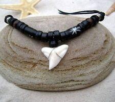 UNISEX SHARK TOOTH TEETH LUCKY BEACH SURF BEAD NECKLACE BLACK CORD / n188hvi