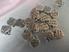20 X THANK YOU HEARTS SILVER COLOR TIBETAN METAL CHARMS/PENDANTS, THANKYOU