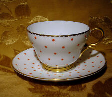 SHELLEY ORANGE POLKA DOT CUP & SAUCER GOLD TRIM MADE IN ENGLAND