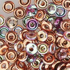 Crystal Copper Rainbow O-beads 3.8x1mm Czech Glass Mini Flat Ring 8 Gram