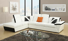 Sienna Modern Bonded White Black Leather Sectional Storage Living room Furniture