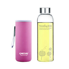 ONEDAY Glass Water Bottle Drinking Cup Dandelion Travel Mug with Cover Pink 12oz