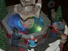 CHRISTMAS VILLAGE LIGHTED HOUSE HOLIDAY WATER FOUNTAIN CHANGING COLOR PEOPLE NEW