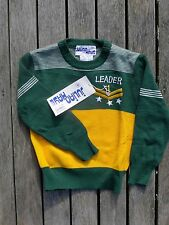 Vintage retro NWT 70s authentic 3 - 4 yo boys jumper NOS as new green gold knit