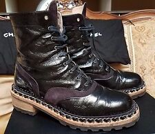 WoW CHANEL Paris Designer Chain Lace Up Army Black Patent Leather BOOTS Shoes 38