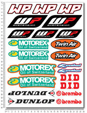 KTM WP Motorex Sponsor decals set 9x12 in. sheet 22 stickers graphics exc sx
