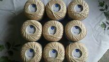 """9 x 50g PALLINE Cappotti opera cotone uncinetto beige"""" 20"""" (tutte le stesse Dye batch)"""