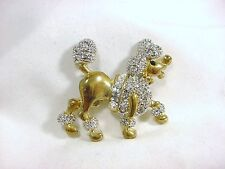 Rhinestone Golden Little French Poodle Puppy Dog Pin Brooch NEW
