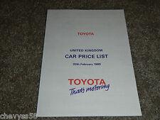 1985 85 TOYOTA UNITED KINGDOM UK CAR PRICE LIST