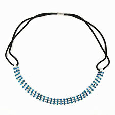 Bridal Wedding Prom Headband Sea Blue Crystal Rhinestone Chain Elastic Hair Band
