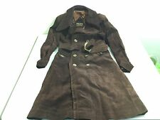 Pierre Cardin Women's Brown Leather Double Breasted Trench Coat Vtg Large/38EUR