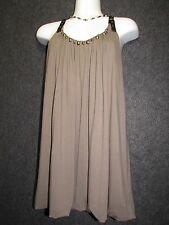 CYNTHIA STEFFE TAUPE RAYON BROWN STUDDED KNIT TOP BLOUSE SZ XL / TG NEW