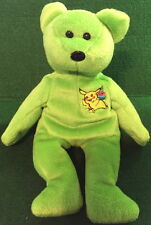 "POKEMON Birthday ""PIKACHU"" 2000 Lime Green TEDDY BEAR Bean Bag Plush Toy 8"" GO!"