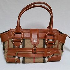 Burberry Manor Quilted Shoulder Bag House Nova Check Large Purse Satchel Brown