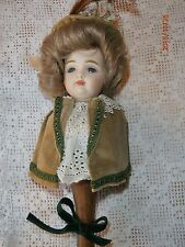 Schmid Half Doll on Stick Music Box Don't Cry For Me Argentina Gray Glass Eyes