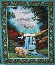 "34"" Cotton Fabric Panel - Faith God Religious Christian Psalm 23 Wallhanging OOP"