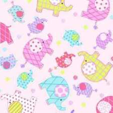 PINK ELEPHANTS ELLIES CUDDLE FLANNEL FABRIC
