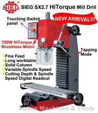 SIEG SX2.7 HiTorque Mill Drill 750W Brushless Motor,Variable Speed,Tapping Mode