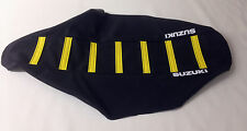 "New ""Suzuki"" Black / Yellow Ribbed Seat cover RM125 RM250 1989-92,RMX250 1989-03"