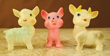 3 SMALL Vtg 1950'S SOFT RUBBER SQUEAKER BABY TOYS LAMB DOG COW ANIMALS WORKS GUC
