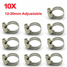 10x 12-20mm Adjustable Stainless Steel Gas Pipe Clip Drive Hose Clamps Fuel Line