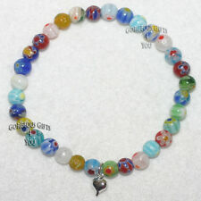 Millefiori Flowers Murano Glass Mix Puffed Heart Beaded Multicoloured Bracelet