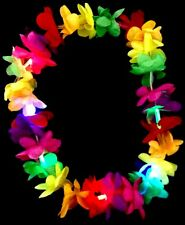 LED LIGHT UP FLASHING LEI HAWAIIAN NECKLACE RAVE PARTY BLINKING FLOWER FLORAL