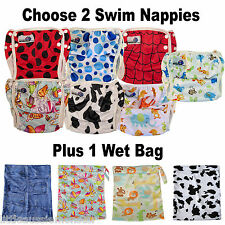 2 pack swim nappies washable reuseable swimmer adjustable baby toddler+ wet bag
