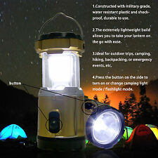 Cool White LED Solar Camping Light & Flashlight & USB Power Bank Tent Lamp LT